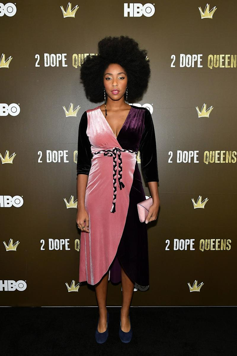 Who: Jessica Williams What: Misa, Tyler Ellis bag Where: At HBO's 2 Dope Queens premiere party, New York City When: January 31, 2018
