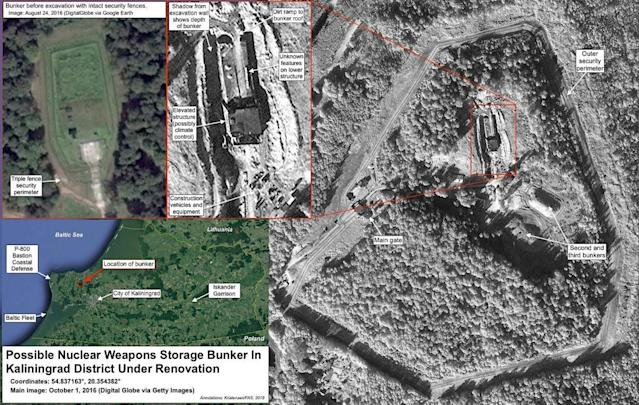 """<span class=""""element-image__caption"""">An image from a report from the Federation of American Scientists on the upgrade of a nuclear weapons storage facility in Kaliningrad.</span> <span class=""""element-image__credit"""">Photograph: Digital Globe via Getty Images</span>"""