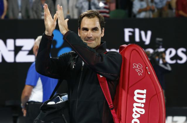 Tennis - Australian Open - Rod Laver Arena, Melbourne, Australia, January 16, 2018. Roger Federer of Switzerland celebrates winning against Aljaz Bedene of Slovenia. REUTERS/Edgar Su