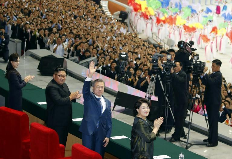 "South Korean President Moon Jae-in addressed an estimated 150,000 North Koreans at the close of a spectacular propaganda display known as the ""Mass Games"""