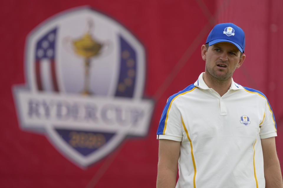 Team Europe's Bernd Wiesberger reacts after missing his putt on the 15th hole during a Ryder Cup singles match at the Whistling Straits Golf Course Sunday, Sept. 26, 2021, in Sheboygan, Wis. (AP Photo/Charlie Neibergall)