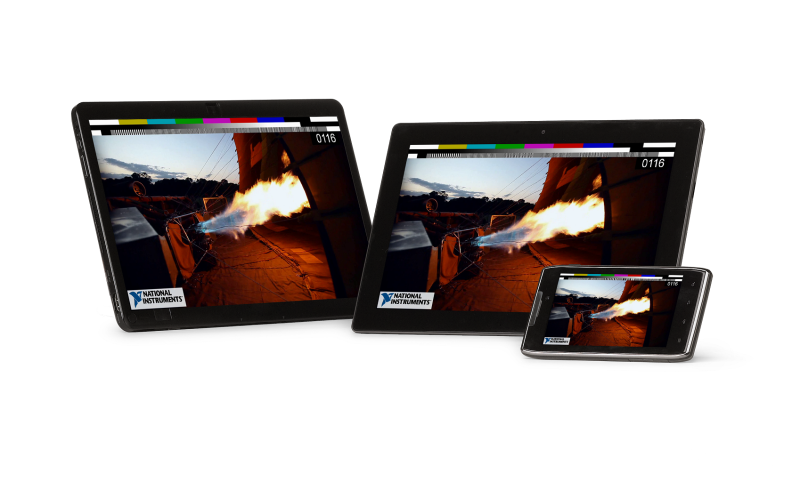 Engine fire test shown on three mobile devices.