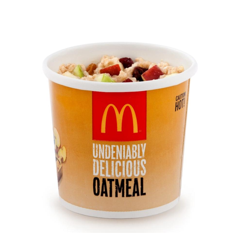 """<p>Need something quick for breakfast? """"<a href=""""https://www.mcdonalds.com/us/en-us/product/fruit-maple-oatmeal.html"""" target=""""_blank"""">The Fruit and Maple Oatmeal</a> has good variety of fruits,"""" says Jenna Hua, Ph.D., R.D., head of nutrition at <a href=""""https://www.suggestic.com/"""" target=""""_blank"""">Suggestic</a>. """"Avoid the raisins and brown sugar, especially if you have issues with blood sugar or diabetes,"""" she suggests.</p>"""