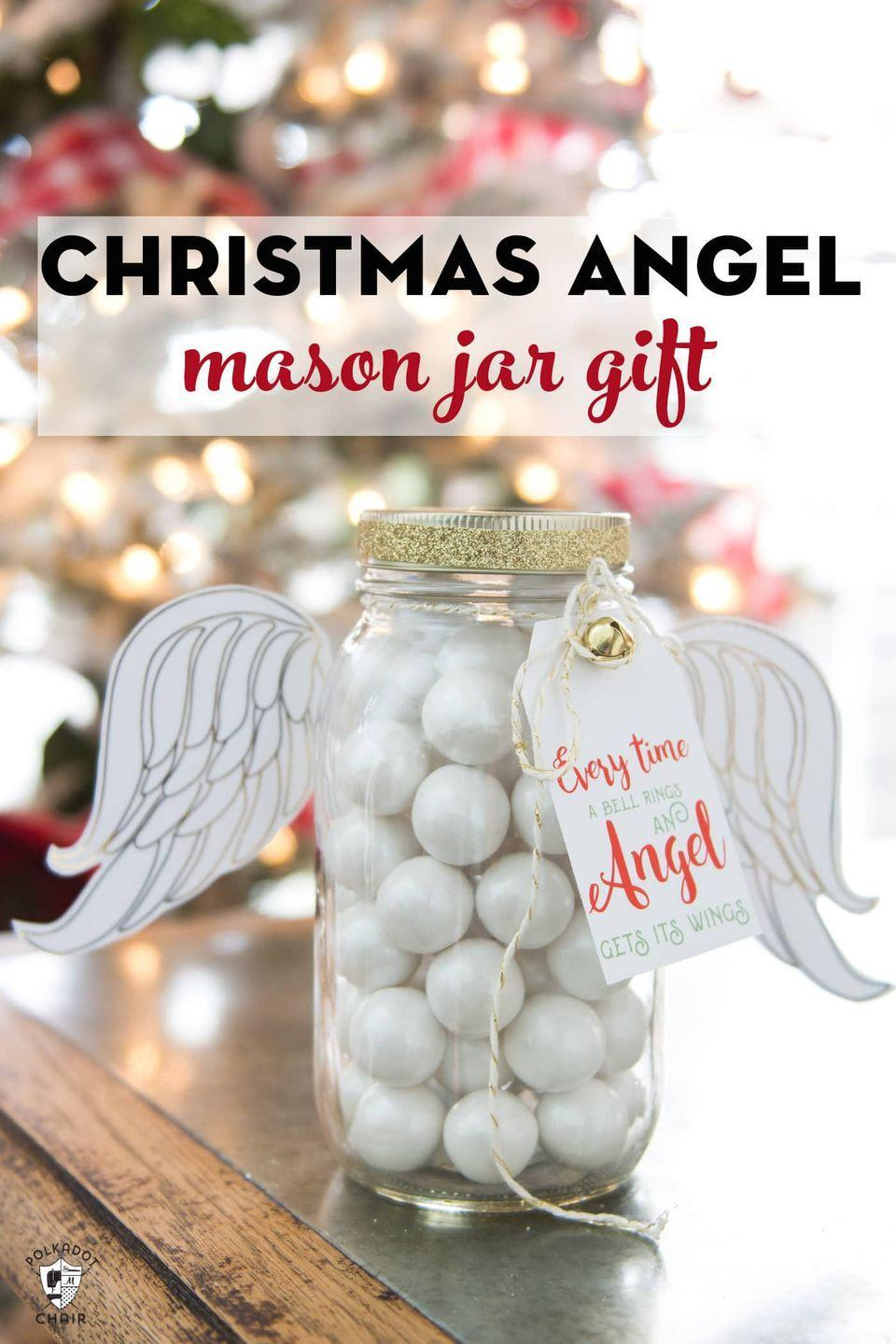 """<p>Give a nod to one of the best <a href=""""https://www.countryliving.com/life/entertainment/g3855/best-black-and-white-classic-christmas-movies/"""" rel=""""nofollow noopener"""" target=""""_blank"""" data-ylk=""""slk:classic Christmas movies"""" class=""""link rapid-noclick-resp"""">classic Christmas movies</a> with this angel Mason jar. Fill it with sweets or just use it as a decoration!</p><p><strong>Get the tutorial at <a href=""""https://www.polkadotchair.com/angel-christmas-mason-jar-gifts/"""" rel=""""nofollow noopener"""" target=""""_blank"""" data-ylk=""""slk:Polka Dot Chair"""" class=""""link rapid-noclick-resp"""">Polka Dot Chair</a>.</strong></p><p><strong><a class=""""link rapid-noclick-resp"""" href=""""https://www.amazon.com/Gejoy-Metallic-Crafters-Wrapping-Decorations/dp/B07DDCYSFN/ref=sr_1_2_sspa?tag=syn-yahoo-20&ascsubtag=%5Bartid%7C10050.g.2132%5Bsrc%7Cyahoo-us"""" rel=""""nofollow noopener"""" target=""""_blank"""" data-ylk=""""slk:SHOP GOLD RIBBON"""">SHOP GOLD RIBBON</a><br></strong></p>"""