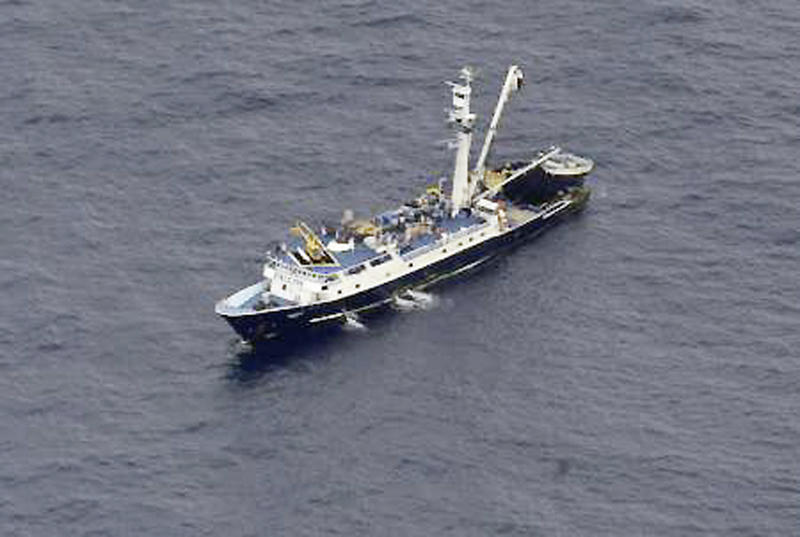 This May 3, 2014, image provided by the U.S. Air Force shows a Venezuelan fishing boat before U.S. Air Force Airmen parachuted into the Pacific Ocean to aid two critically injured sailors aboard a Venezuelan fishing boat. The Venezuelan fishing boat found the sailors floating in a raft Friday afternoon after their vessel sank off the coast of Mexico, said Sarah Schwennese, spokeswoman at the Davis-Monthan Air Force Base in Tucson. (AP Photo/U.S. Air Force, Staff Sgt. Adam Grant)