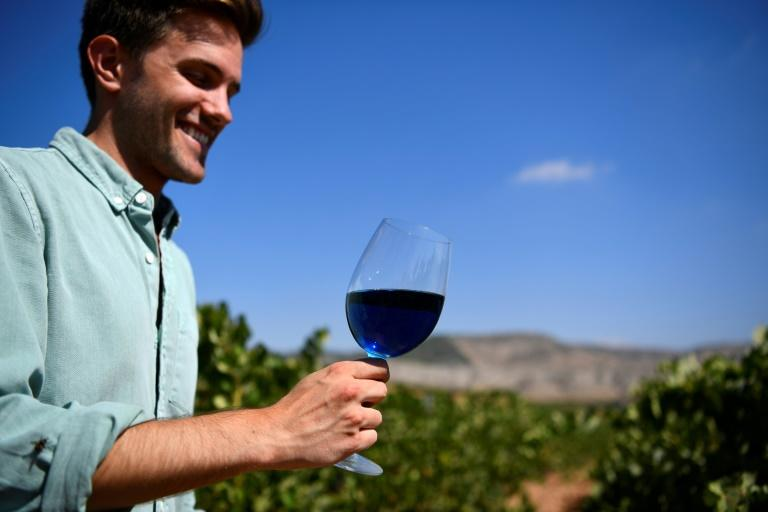 """""""We knew Gik Blue would polarise opinion,"""" says Aritz Lopez, a co-founder of Gik Live! which produces blue wine"""