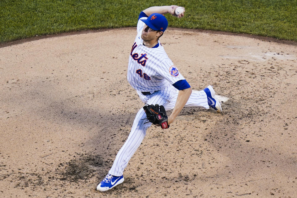 New York Mets' Jacob deGrom delivers a pitch during the third inning of the team's baseball game against the Chicago Cubs Wednesday, June 16, 2021, in New York. (AP Photo/Frank Franklin II)