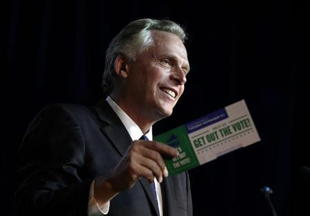 Former DNC chairman Terry McAuliffe speaks at an event to be endorsed by former U.S. Secretary of State Hillary Clinton at The State Theatre in Falls Church