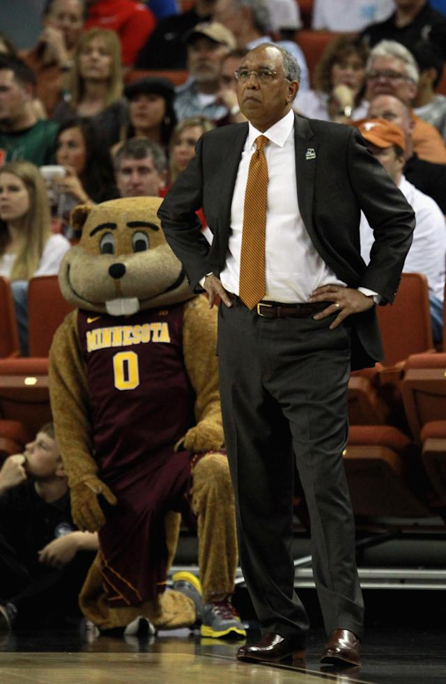 AUSTIN, TX - MARCH 22: Head coach Tubby Smith of the Minnesota Golden Gophers watches his team play against the UCLA Bruins with their mascot during the second round of the 2013 NCAA Men's Basketball Tournament at The Frank Erwin Center on March 22, 2013 in Austin, Texas. (Photo by Ronald Martinez/Getty Images)