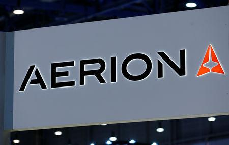 A logo of supersonic jet maker Aerion Corporation is pictured on their booth during the European Business Aviation Convention & Exhibition (EBACE) in Geneva, Switzerland, May 22, 2017.  REUTERS/Denis Balibouse/File Photo