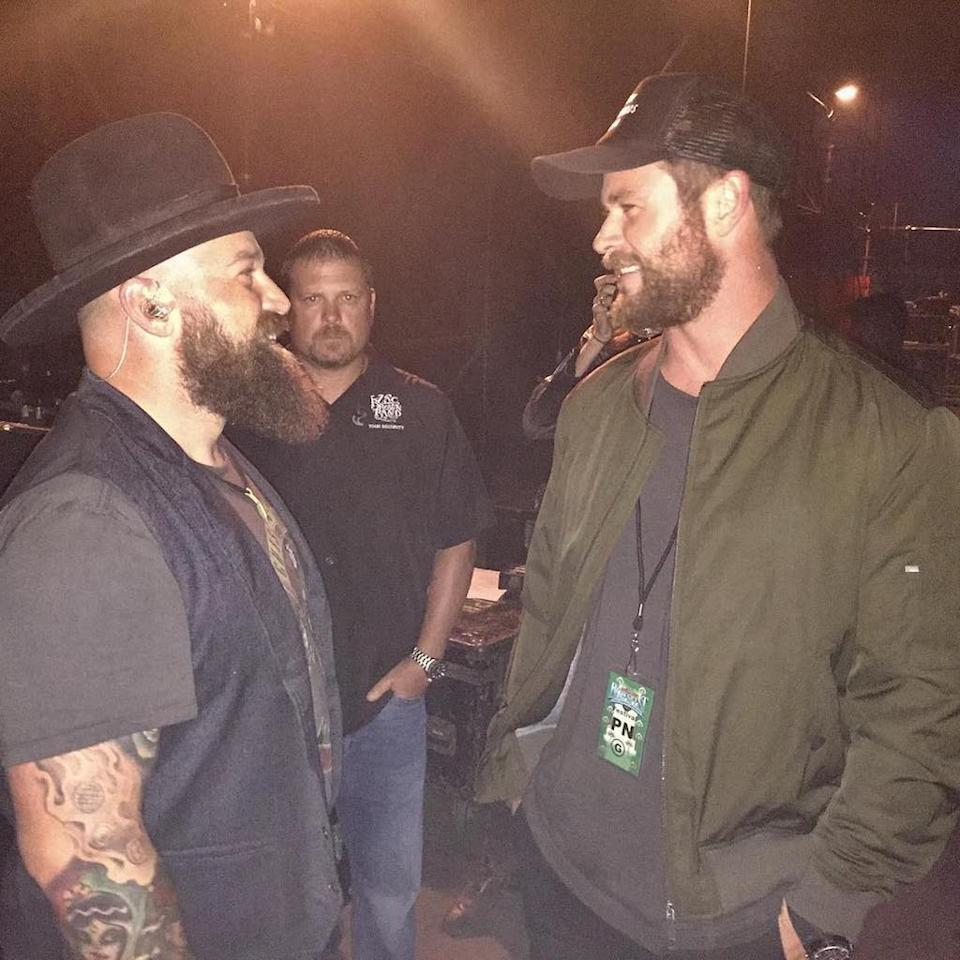 "<p>The <em>Thor</em> actor correctly guessed that this photo of him and singer Zac Brown of the Zac Brown Band looked like a beard convention. ""No seriously your beard's fine, just give it time and it'll grow."" he jokingly wrote. ""Thanks so much @zacbrownband for the tips and techniques and another truly Epic performance at the @bluesfestbyronbay #beardlife (guy in the background is super envious)."" (Photo: <a rel=""nofollow"" href=""https://www.instagram.com/p/BTGj2e_hSQo/?taken-by=chrishemsworth"">Chris Hemsworth via Instagram</a>) </p>"