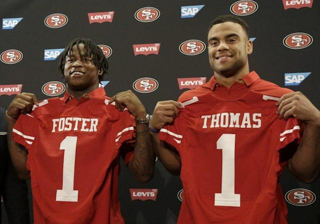 Reuben Foster and Solomon Thomas were the 49ers' first-round picks. (AP)