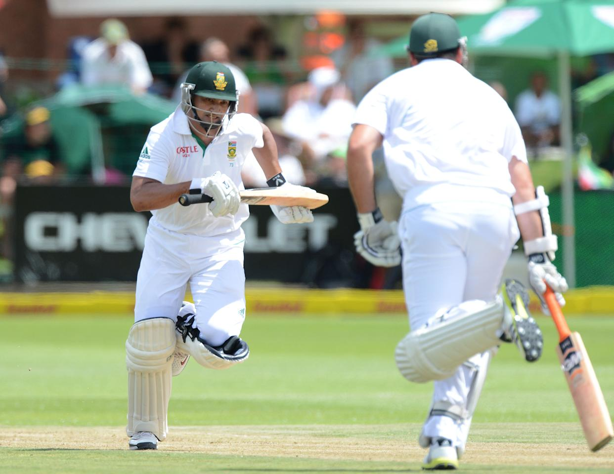PORT ELIZABETH, SOUTH AFRICA - JANUARY 11:  Alviro Petersen of South Africa runs a quick single during day one of the second test match between South Africa and New Zealand at Axxess St Georges on January 11, 2013 in Port Elizabeth, South Africa. (Photo by Duif du Toit/Gallo Images/Getty Images)