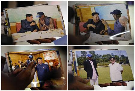 Former basketball star Dennis Rodman of the U.S. shows pictures he took with North Korean leader Kim Jong-un to the media, upon arrival at Beijing Capital International Airport, in this combination picture of frames shot September 7, 2013. REUTERS/Kim Kyung-Hoon