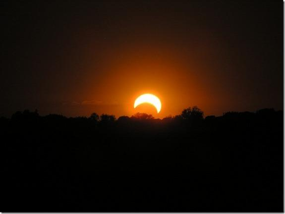 Skywatcher Sam Border snapped this photo of a partial solar eclipse as it appeared at sunset near Blue Grass, Iowa on May 20, 2012.