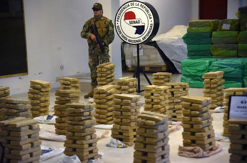 Paraguay has been blighted by drug trafficking with officials seizing huge quantities of contraband like this haul of nearly 4,000 kilos of marijuana (AFP Photo/Norberto DUARTE)
