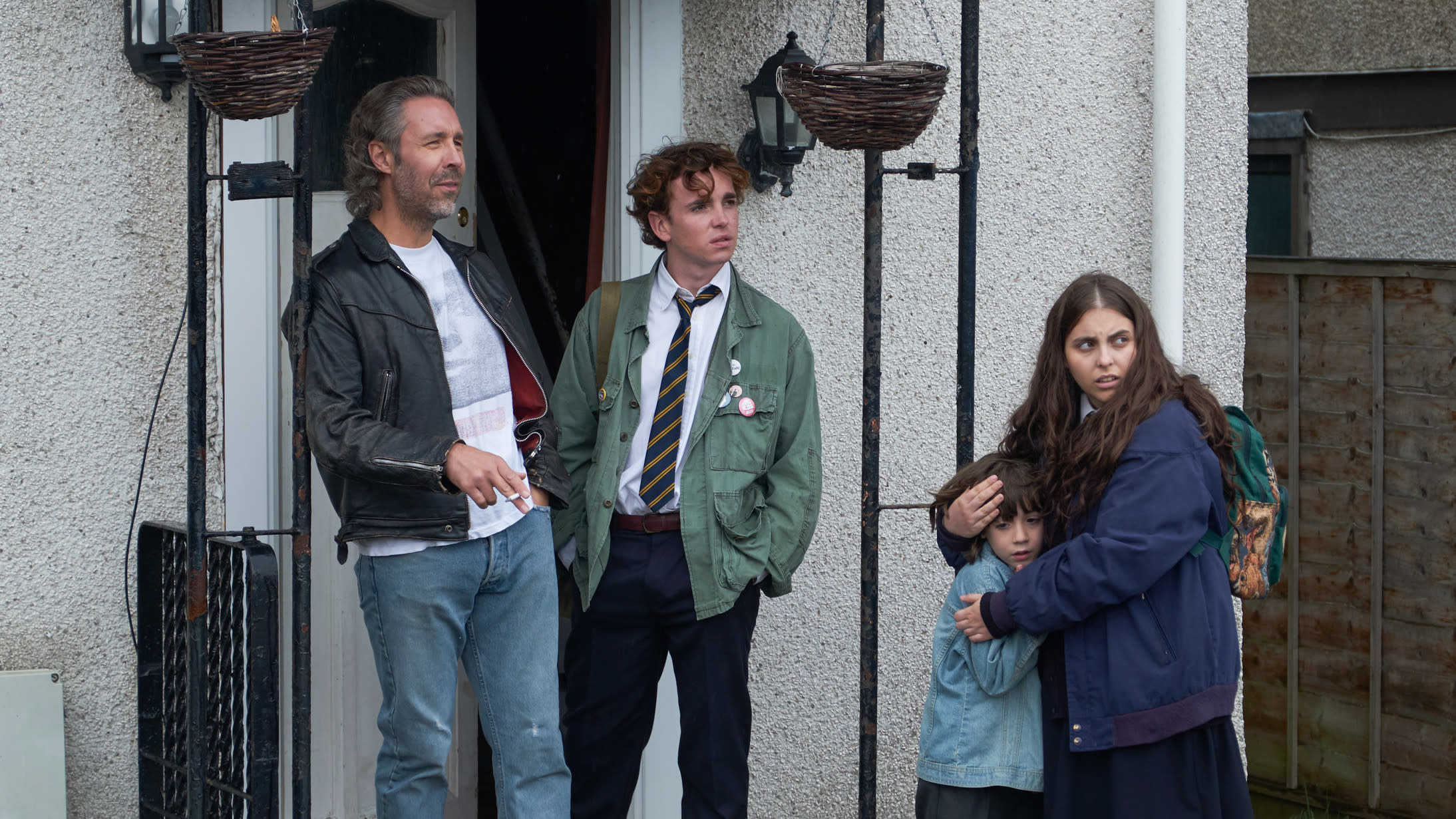 The Morrigan family in 'How To Build a Girl'. (Credit: Lionsgate)