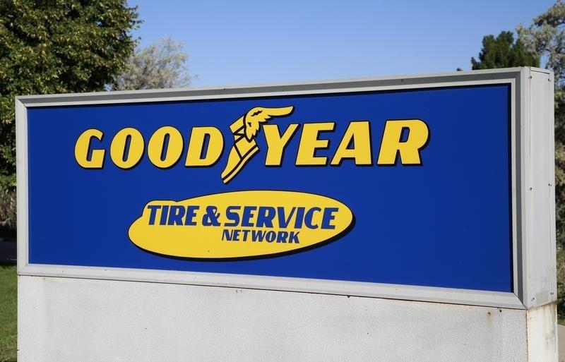 The Goodyear Tire and Rubber Co. company logo is seen in Westminster, Colorado