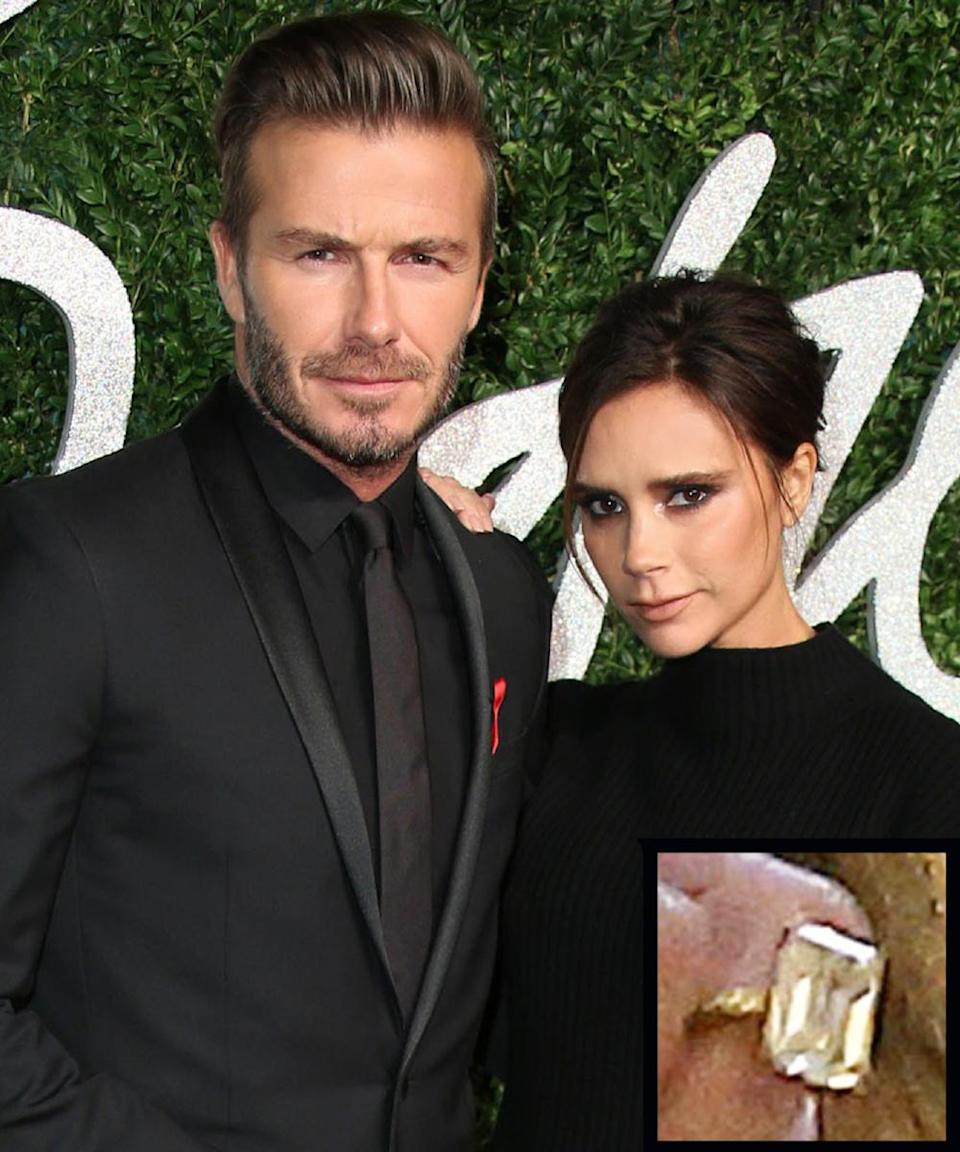 <p>Soccer stud David Beckham proposed to former Spice Girls star Victoria Beckham back in 1998 with a 3-carat ring. The couple married in 1999.</p>