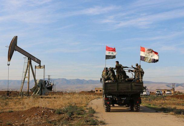 PHOTO: Syrian soldiers are seen deploying in an oil-rich area in the countryside of Qamishli, northeastern Hasakah province, Syria, on Nov. 5, 2019. (Xinhua via Newscom)