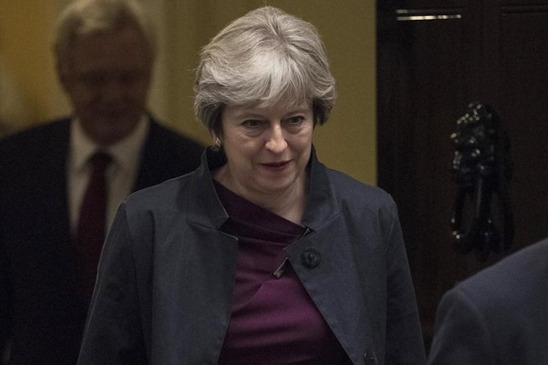 Emergency talks: Theresa May at No10 today before travelling to Brussels: EPA