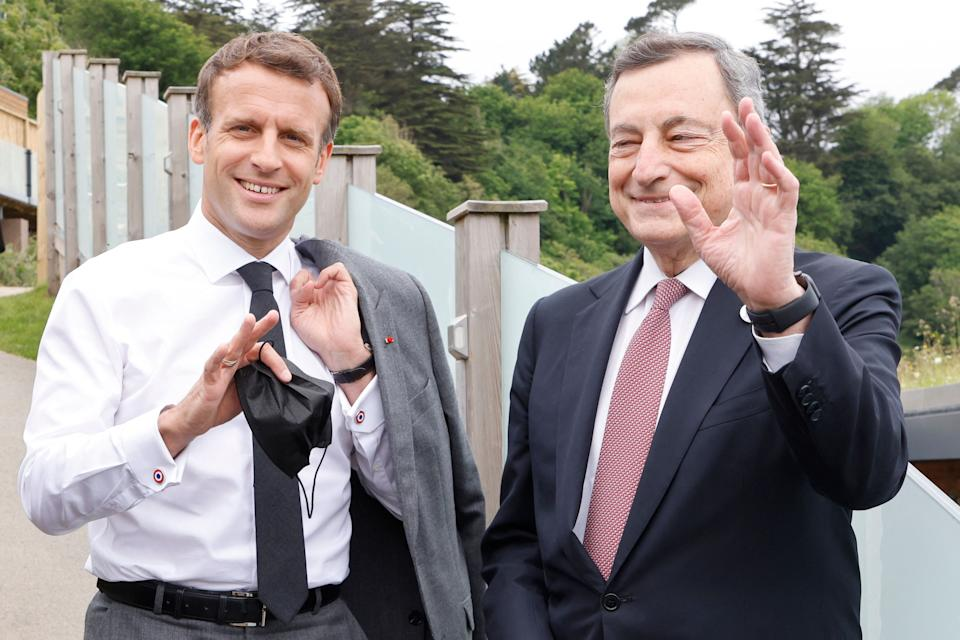 French president Emmanuel Macron and Italy's PM Mario Draghi at an informal G7 meeting (Photo: LUDOVIC MARIN via Getty Images)