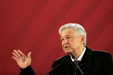 Mexico's President Andres Manuel Lopez Obrador gestures during a news conference at National Palace in Mexico City