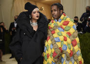 """Rihanna, left, and A$AP Rocky attend The Metropolitan Museum of Art's Costume Institute benefit gala celebrating the opening of the """"In America: A Lexicon of Fashion"""" exhibition on Monday, Sept. 13, 2021, in New York. (Photo by Evan Agostini/Invision/AP)"""