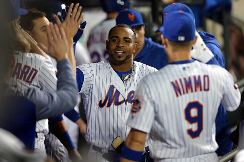 May 1, 2018; New York City, NY, USA; New York Mets left fielder Yoenis Cespedes (52) celebrates with teammates after hitting a solo home run against the Atlanta Braves during the sixth inning at Citi Field. Mandatory Credit: Brad Penner-USA TODAY Sports