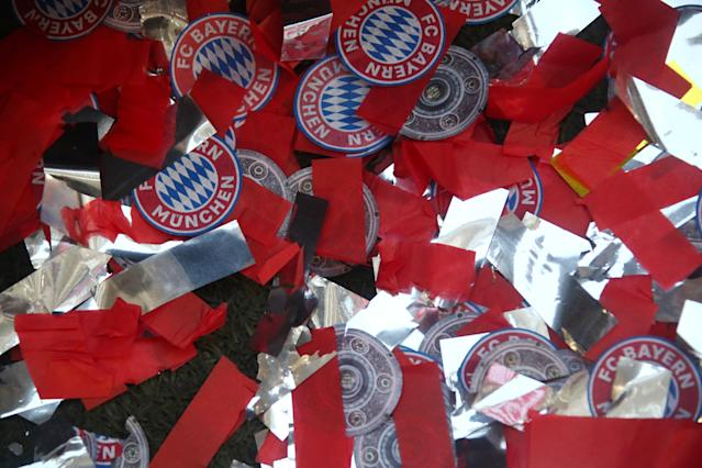 Soccer Football - Bundesliga - Bayern Munich v VfB Stuttgart - Allianz Arena, Munich, Germany - May 12, 2018 General view of confetti as they Bayern Munich celebrate winning the Bundesliga REUTERS/Michael Dalder DFL RULES TO LIMIT THE ONLINE USAGE DURING MATCH TIME TO 15 PICTURES PER GAME. IMAGE SEQUENCES TO SIMULATE VIDEO IS NOT ALLOWED AT ANY TIME. FOR FURTHER QUERIES PLEASE CONTACT DFL DIRECTLY AT + 49 69 650050