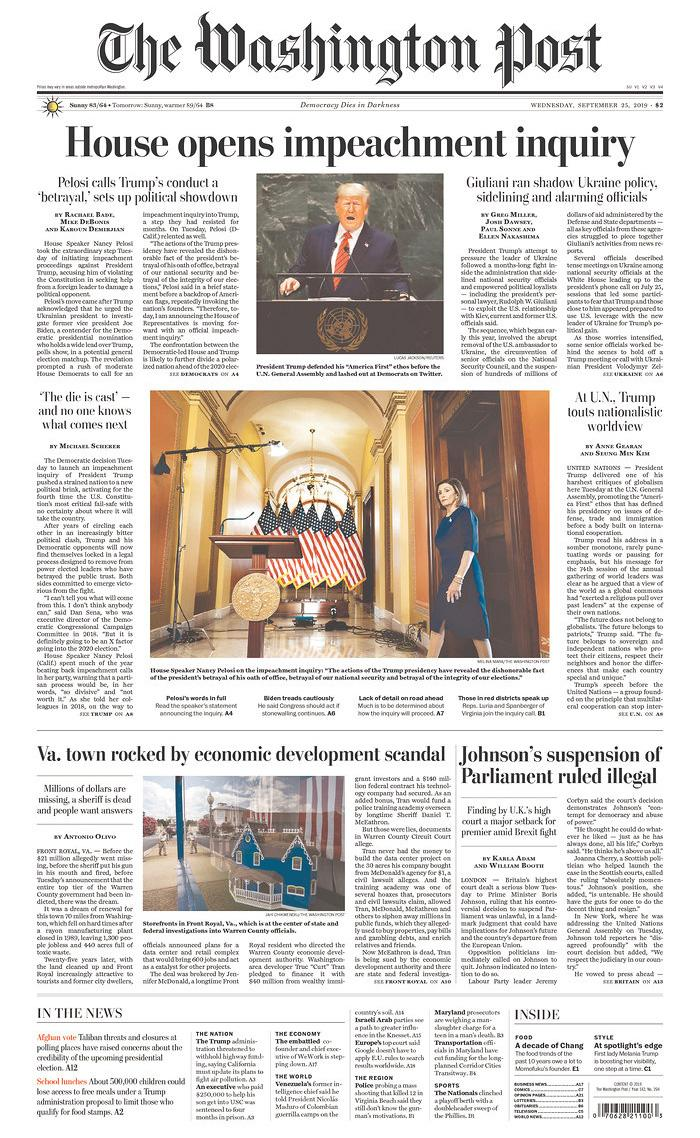 House opens impeachment inquiry The Washington Post Published in Washington, D.C. USA. (newseum.org)