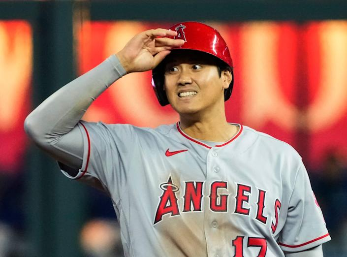 Los Angeles Angels designated hitter Shohei Ohtani (17) reacts after hitting a double against the Kansas City Royals during the ninth inning at Kauffman Stadium.