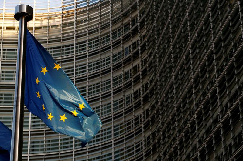 A EU flag is seen outside the EU Commission headquarters in Brussels
