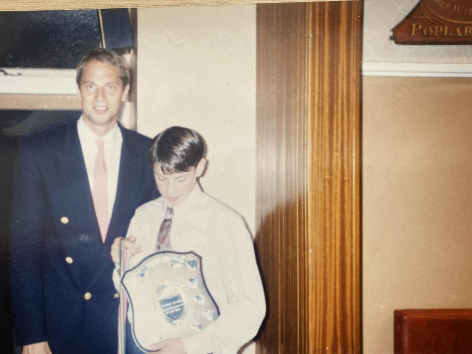 A young Mark Hunter pictured with his idol Sir Steve Redgrave