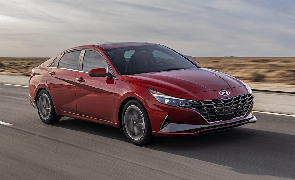 """<p>The <a href=""""https://www.caranddriver.com/hyundai/elantra"""" rel=""""nofollow noopener"""" target=""""_blank"""" data-ylk=""""slk:Hyundai Elantra"""" class=""""link rapid-noclick-resp"""">Hyundai Elantra</a> uses a 147-hp inline-four and a CVT in its nonhybrid models to achieve an EPA-estimated 37 mpg combined. The redesigned Elantra for 2021 is a looker, and if you were to upgrade to the hybrid model for $3900 more, the combined fuel economy jumps to 56 mpg. For something that starts around $20,000, the Elantra is an attractive choice inside and out.</p><ul><li>Base Price: $20,665</li><li>Fuel Economy EPA combined/city/highway: 37/33/43 mpg</li><li>Horsepower: 128 hp</li></ul><p><a class=""""link rapid-noclick-resp"""" href=""""https://www.caranddriver.com/hyundai/elantra"""" rel=""""nofollow noopener"""" target=""""_blank"""" data-ylk=""""slk:MORE ELANTRA SPECS"""">MORE ELANTRA SPECS</a></p>"""