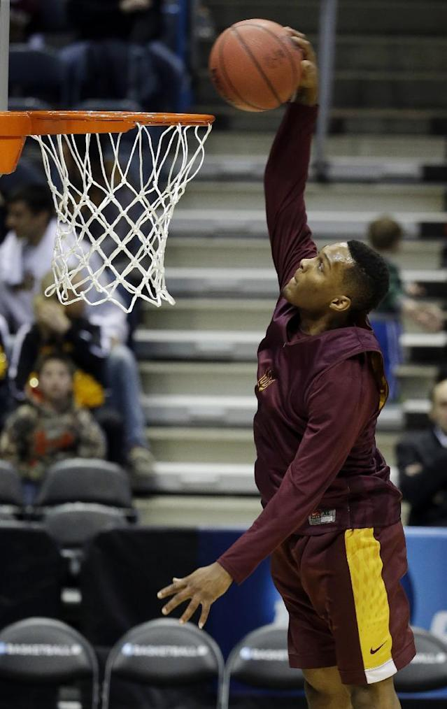 Arizona State guard Jahii Carson goes up for a shot during a practice session for their NCAA college basketball tournament game Wednesday, March 19, 2014, in Milwaukee. Arizona State plays Texas State on Thursday. (AP Photo/Morry Gash)