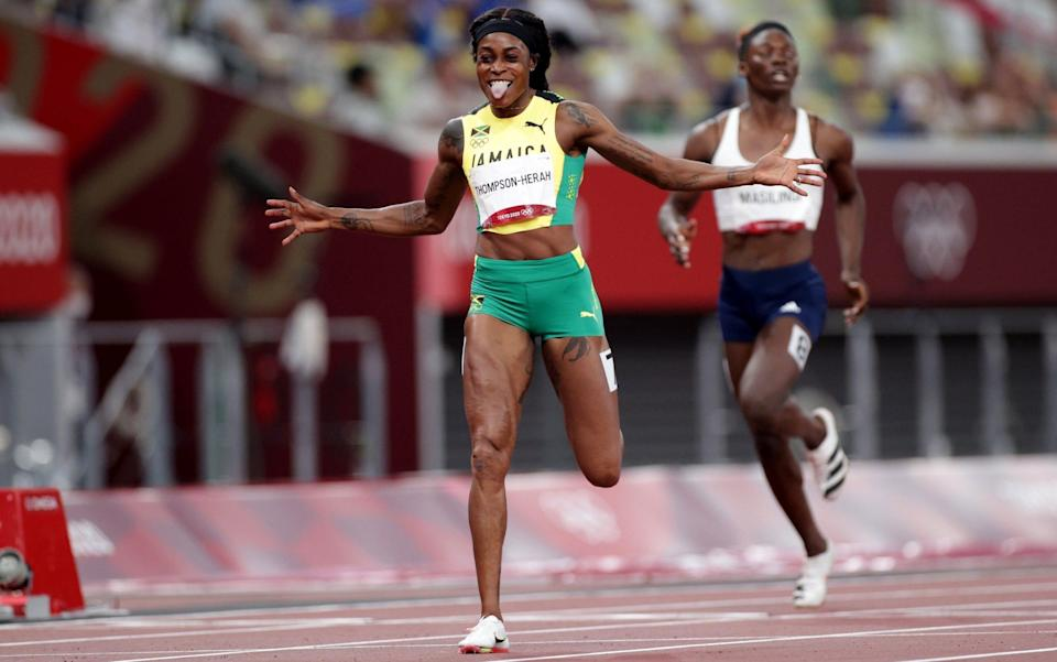 Elaine Thompson-Herah produced the second-fastest women's 100m (10.61sec) and 200m (21.53sec) in history - Reuters