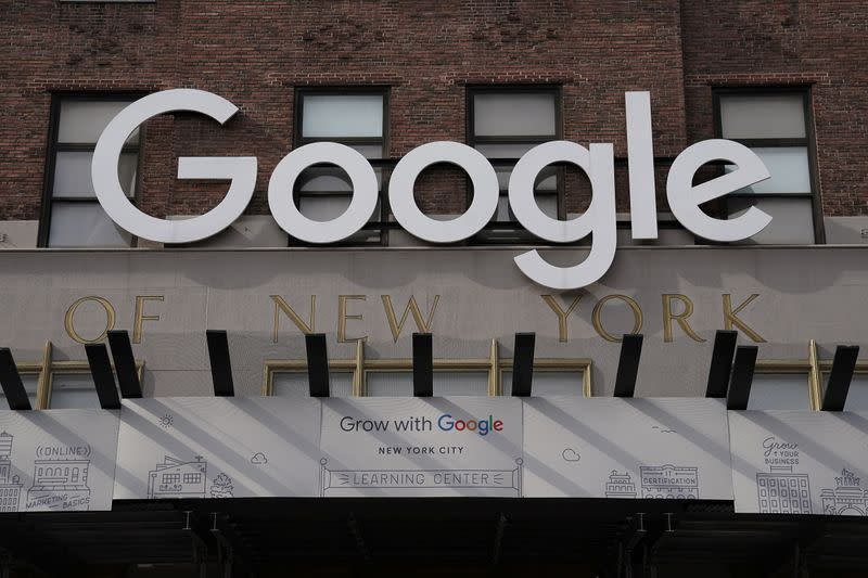 A Google sign is pictured on a Google building