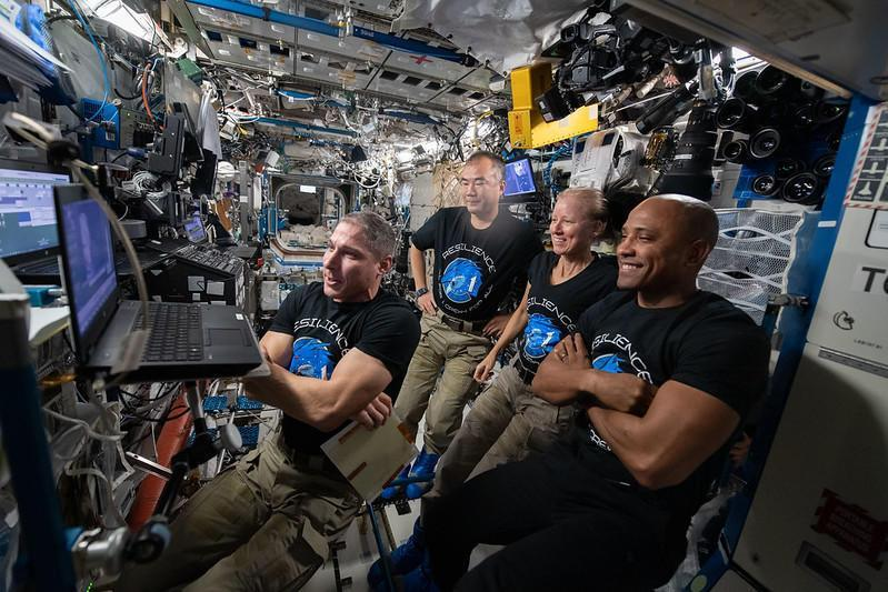 The crew of the first operational Crew Dragon spacecraft plan to return to Earth on April 28. The Crew-1 astronauts are seen here aboard the International Space Station (left to right): Michael Hopkins, Soichi Noguchi, Shannon Walker and Victor Glover. / Credit: NASA
