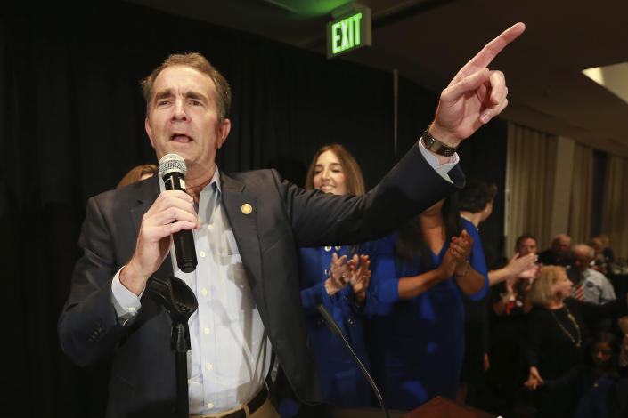 Virginia Gov. Ralph Northam speaks to supporters at a Democratic Party event in Richmond, Va., Tuesday, Nov. 5, 2019. All seats in the Virginia House of Delegates and state Senate are up for election. (AP Photo/Steve Helber)