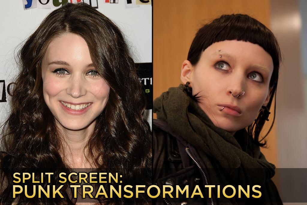 "<a href=""http://movies.yahoo.com/movie/contributor/1809789186"">Rooney Mara</a> went all out to play Lisbeth Salander in this week's movie ""<a href=""http://movies.yahoo.com/movie/1810163569/info"">The Girl with the Dragon Tattoo</a>""; she got her eyebrows bleached, a wild Road Warrior haircut, and some much discussed body piercings. Of course, she isn't the first actor to go full punk for a part. Click ahead to see other stars who got punk'd."