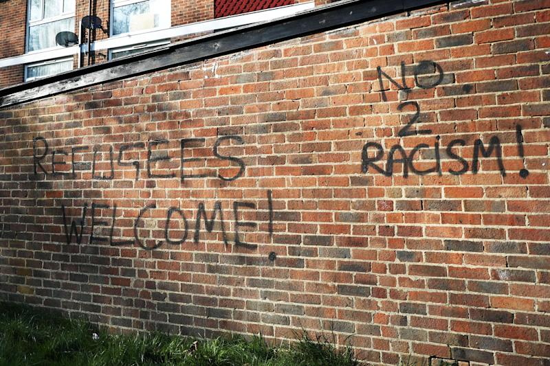 Graffiti is daubed in the Shrublands area of Croydon in London, near the scene of the attack: Reuters