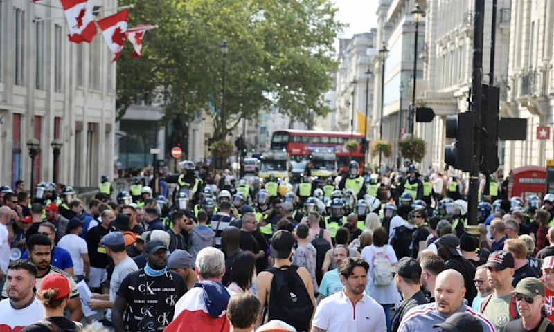 Demonstrators gather at Trafalgar Square, central London