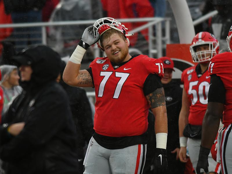 ATHENS, GA - OCTOBER 19: Georgia Bulldogs Offensive Linemen Cade Mays (77) during warmups before the game between the Kentucky Wildcats and the Georgia Bulldogs on October 19, 2019, at Sanford Stadium in Athens, Ga.(Photo by Jeffrey Vest/Icon Sportswire via Getty Images)