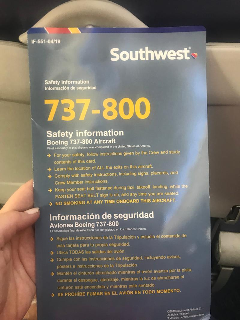 Southwest updates safety information cards to avoid Boeing 737 Max confusion