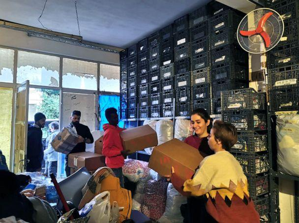 PHOTO: Donations inside the 'Solidarity Warehouse' for migrants and refugees in Chios, Greece, in an undated photo before an arson attack in the winter of 2020. (One Family - No Borders)