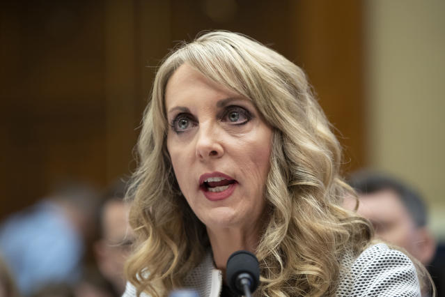 USA Gymnastics President and CEO Kerry Perry testifies before the House Commerce Oversight and Investigations Subcommittee Wednesday. (AP Photo)