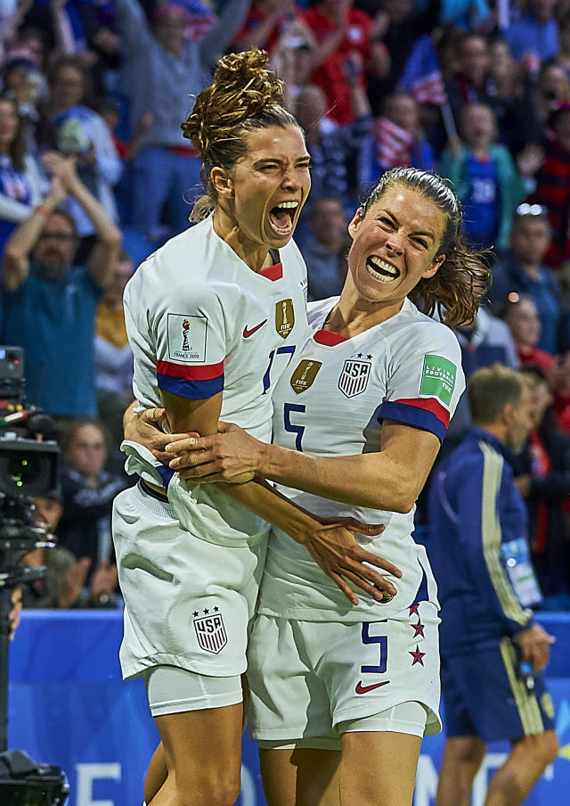 Tobin Heath of USA celebrates scoring her team's second goal with team mates during the 2019 FIFA Women's World Cup France group F match between Sweden and USA at on June 20, 2019 in Le Havre, France. (Photo by Quality Sport Images/Getty Images)