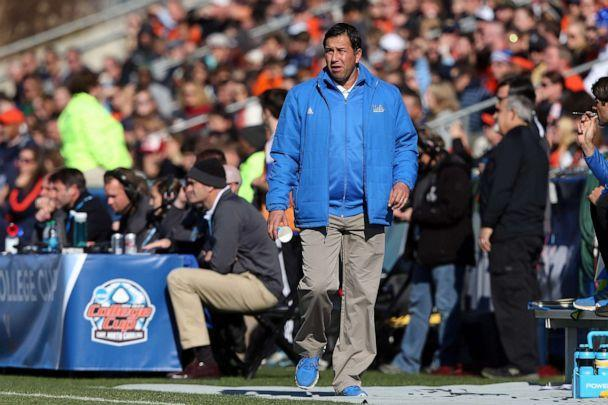 PHOTO: UCLA men's soccer head coach Jorge Salcedo stands on the sidelines during a game at WakeMed Stadium in Cary, N.C., Dec. 14, 2014. (Andy Mead/Icon Sportswire via AP, FILE)