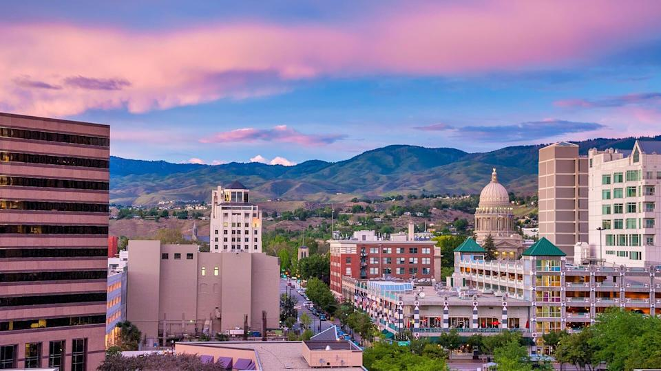 Center of Boise Idaho as seen from above at night.